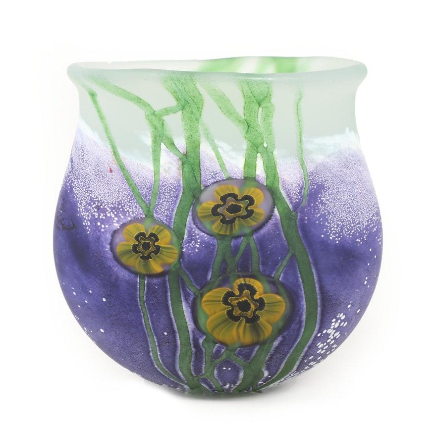 "Robert Eickholt ""Seascape"" Handblown Satin Art Glass Vase, 2003"