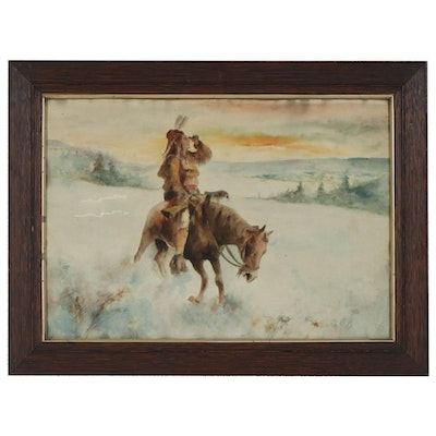 Watercolor Painting of Native American Man on Horseback, Early/Mid 20th Century