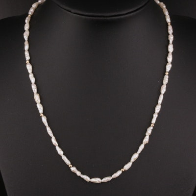 14K Gold Rice Pearl Necklace