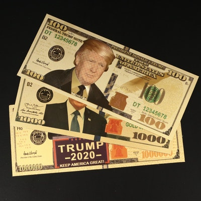 Collection of 24K foil Novelty Donald Trump Gold Certificates