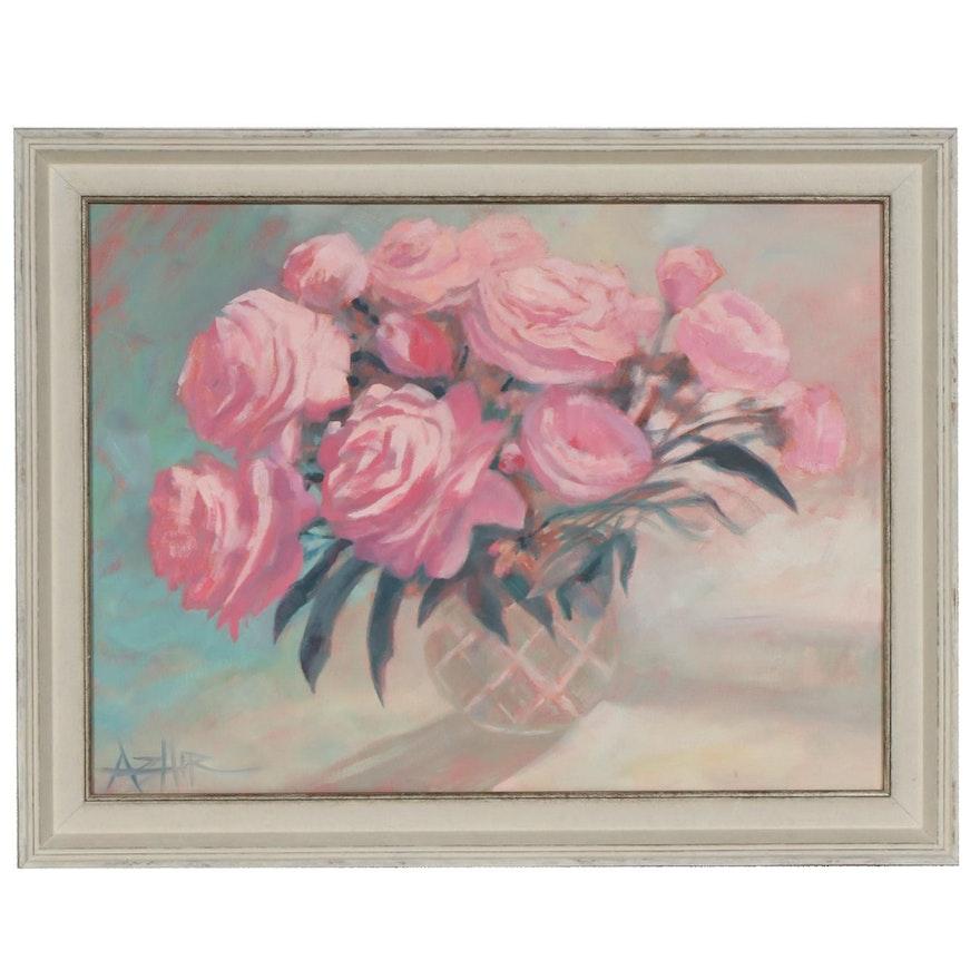 Addie Hirschten Still Life of Pink Flowers Oil Painting