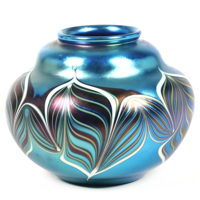 Orient & Flume Blue Iridescent  Pulled Feather Art Glass Vase, 1985