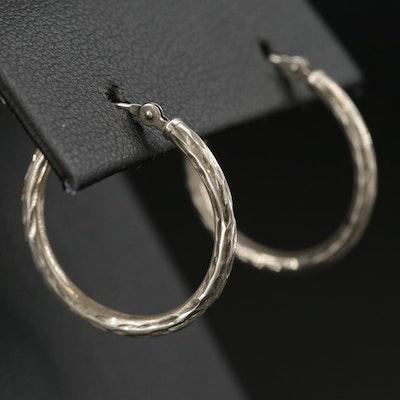 10K Patterned Hoop Earrings