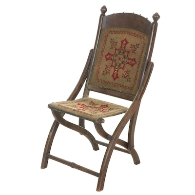 Victorian Folding Chair with Needlepoint Upholstery
