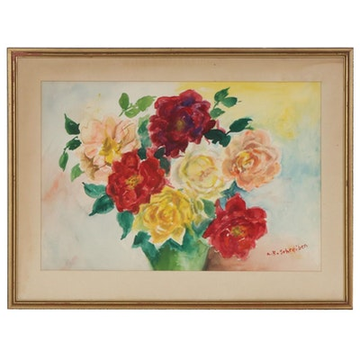 Anne Schreiber Floral Still Life Watercolor Painting