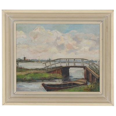 Dutch Inlet Scene Oil Painting, Early to Mid-20th Century