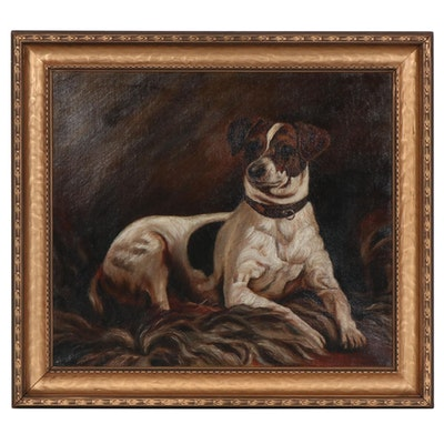 Early 20th Century Portrait of Smooth Fox Terrier Oil Painting