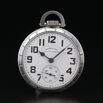 1969 Hamilton Railway Special Stainless Steel Open Face Pocket Watch