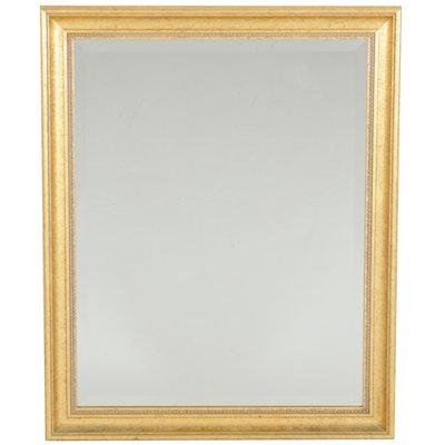 Gilt Wood Rectangular Wall Mirror with Beveled Glass