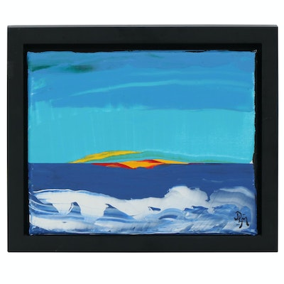 """Abstract Landscape Acrylic Painting """"Wake Up Call"""""""