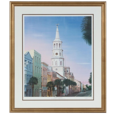 "Allan E. West Offset Lithograph ""Easter on Broad"""