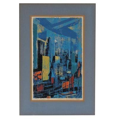 "Louise A. Freedman Serigraph ""Twilight Manhattan"", 1956"