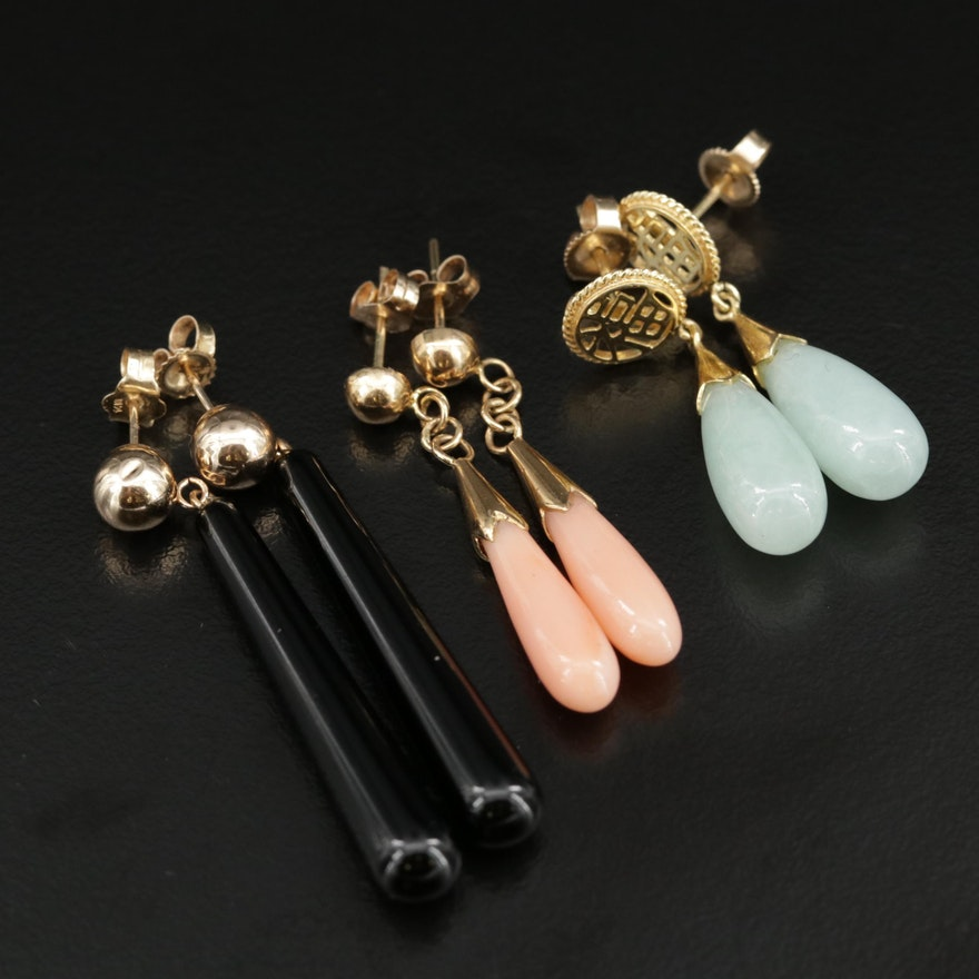 14K Drop Earrings with Coral, Jadeite and Black Onyx