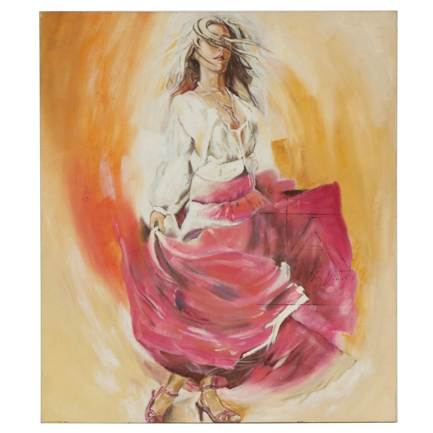 Ye Shui Yung Portrait of Woman with Pink Skirt Oil Painting