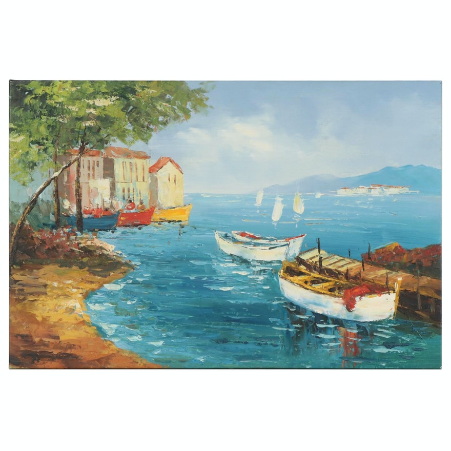 Impressionist Style Coastal Landscape with Boats Oil Painting
