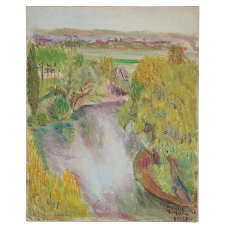 Moussia Toulman Landscape Oil Painting, 1947
