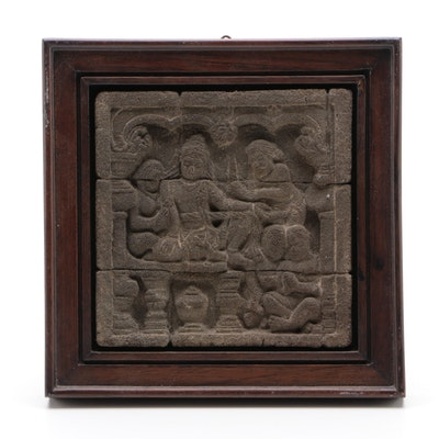 Indonesian Framed Borobudur Relief with Bodhisattva and Hindu Priests