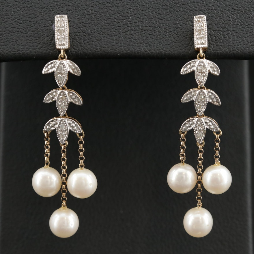 14K Pearl and Diamond Chandelier Earrings