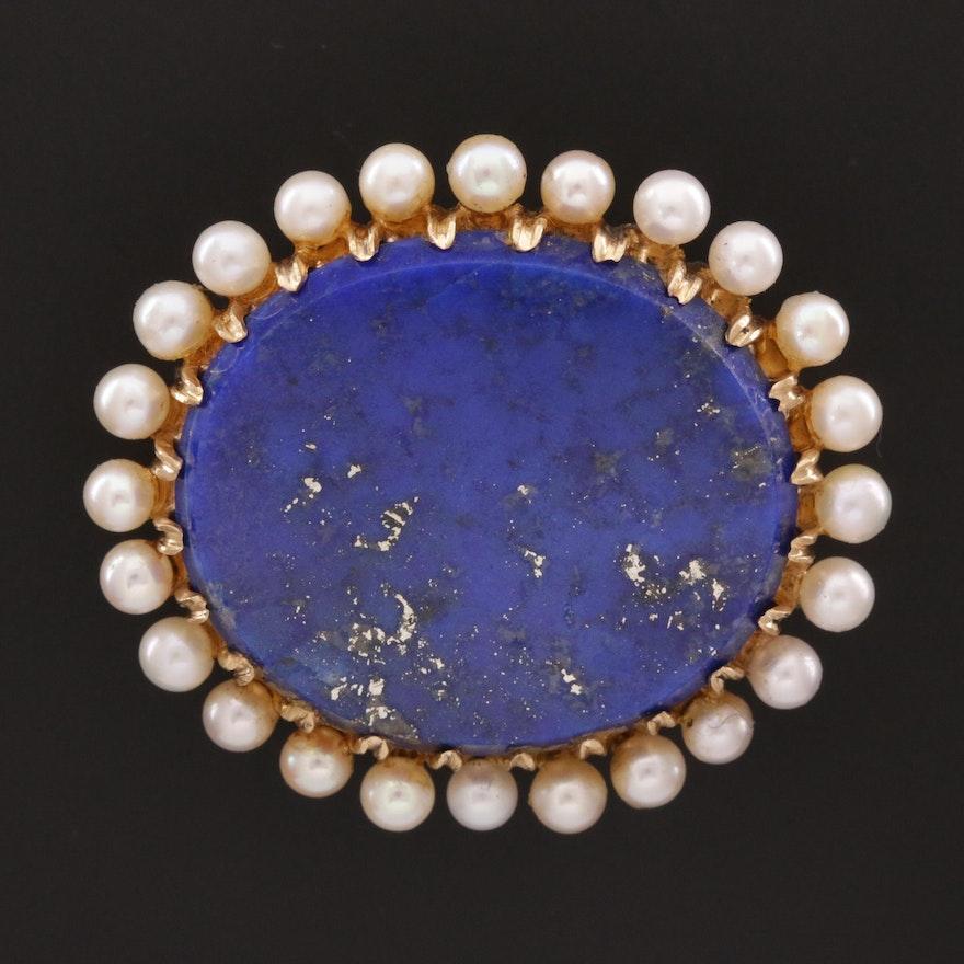 Vintage 14K Lapis Lazuli and Seed Pearl Brooch