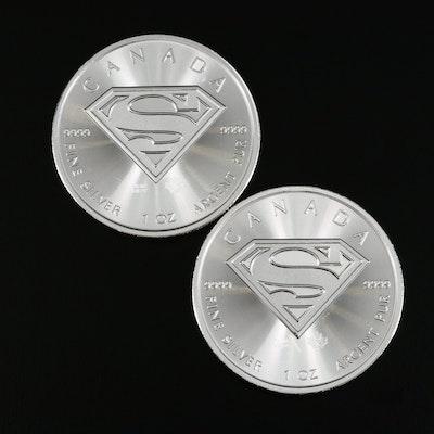 Two 2016 Canada $5 Superman Themed 1-Oz. Fine Silver Bullion Coins