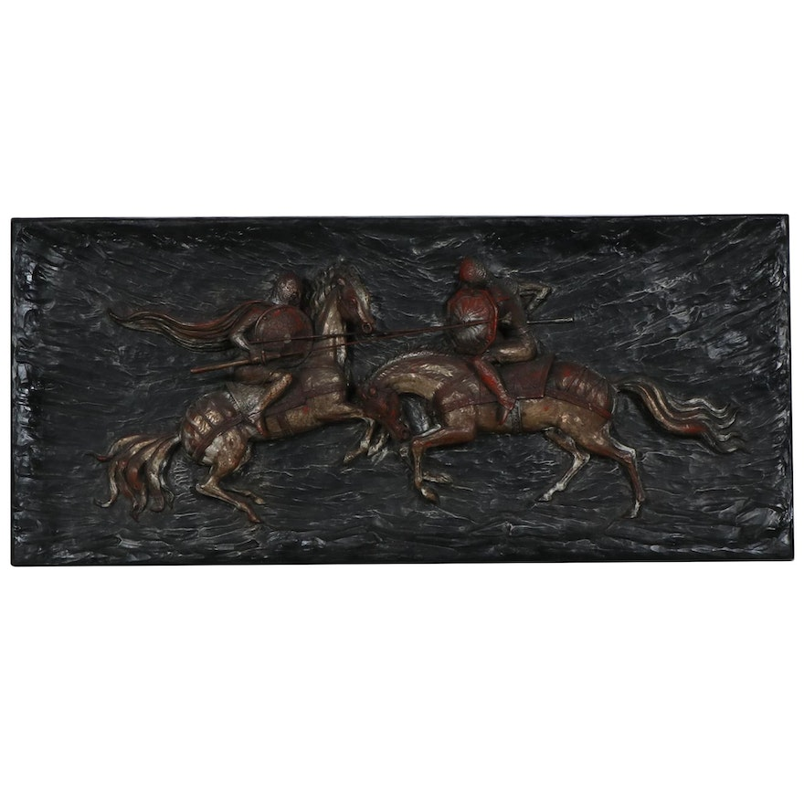 Finesse Originals Jousting Knights Fiberglass Wall Sculpture, Mid-20th Century
