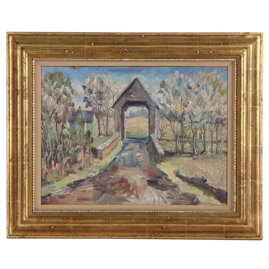 S. Frank Landscape Oil Painting of Covered Bridge, Mid to Late 20th Century