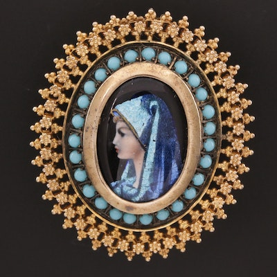 Vintage 18K Enamel Portrait Brooch with Imitation Turquoise and Dichroic Glass