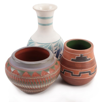 Artisan Made Southwestern Art Pottery Vases