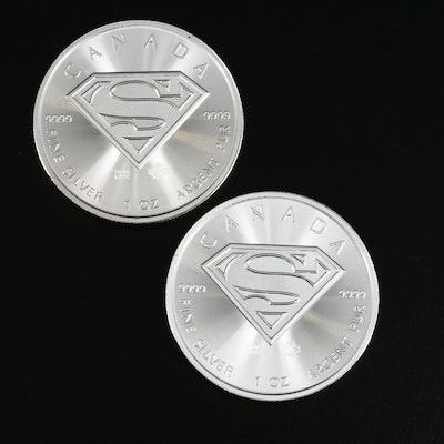 Two 2016 Canadian $5 Superman Themed 1-Oz. Fine Silver Bullion Coins