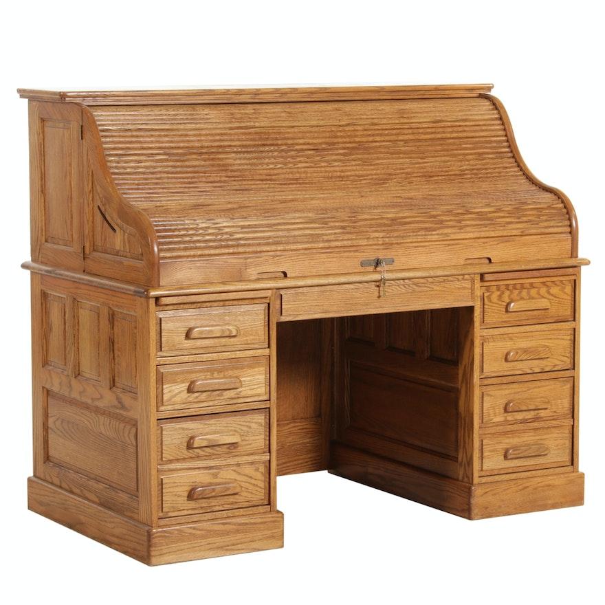 Oak Crest Rolltop Desk, Late 20th Century