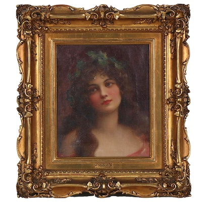 Woman with Wreath Portrait Oil Painting, Late 19th Century