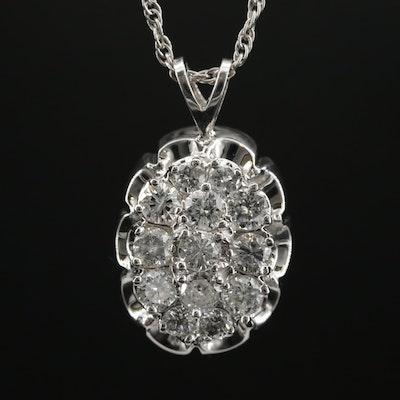 14K 2.40 CTW Diamond Oval Cluster Necklace
