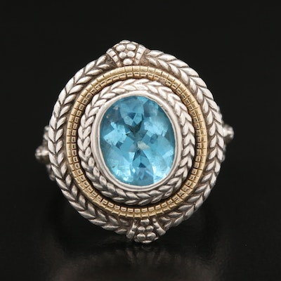 Sterling Topaz Ring with 18K Accents