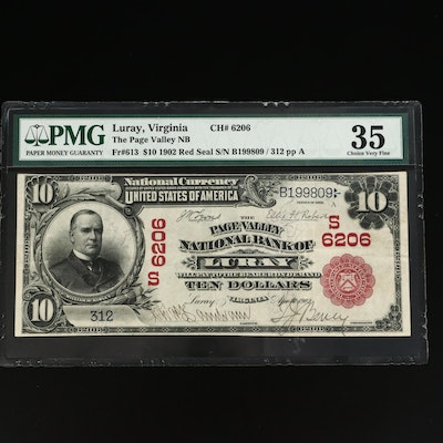 PMG Graded VF35 Series 1902 Red Seal $10 Page Valley National Bank Note