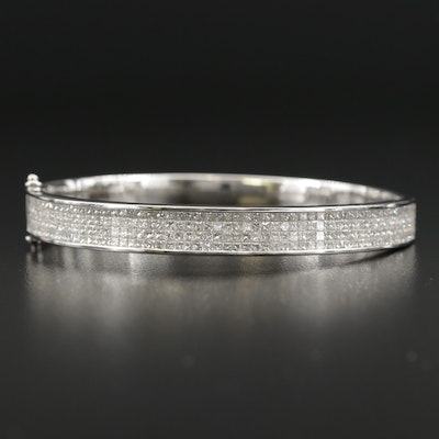 18K Four Row 5.25 CTW Diamond Oval Hinged Bangle