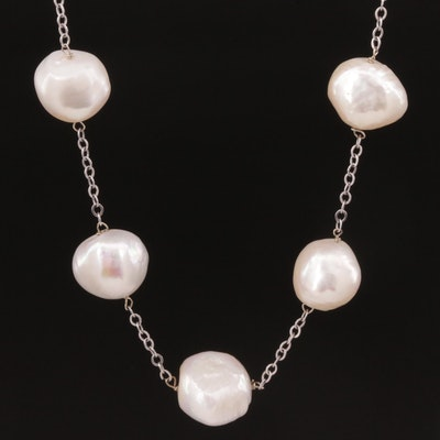 14K Gold Baroque Pearl Station Necklace