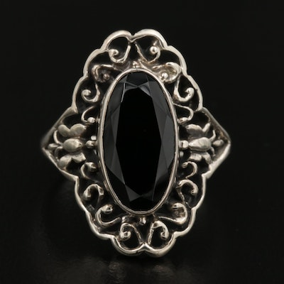 Sterling Silver Oval Spinel Openwork Ring