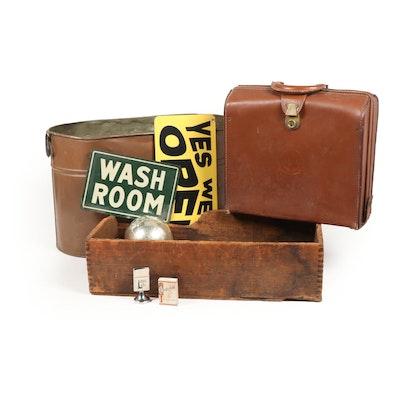 Rustic Advertising Decor, Briefcase and Basin, Vintage