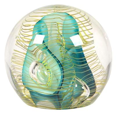 Hal David Berger Art Glass Paperweight, 1991