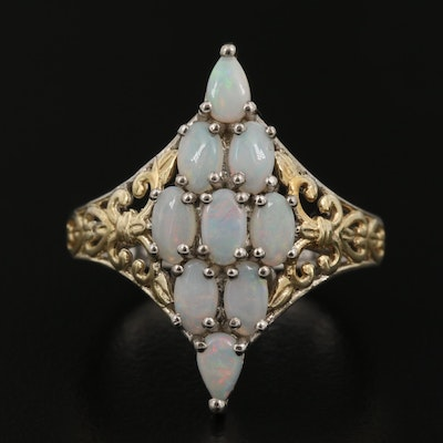 Sterling Silver Opal Cluster Scrollwork Ring