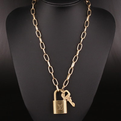 Louis Vuitton Lock and Key on Oval Link Chain