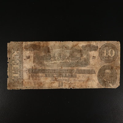 1864 Richmond Virginia $10 CSA Banknote