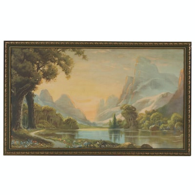 Mountain Landscape Color Lithograph