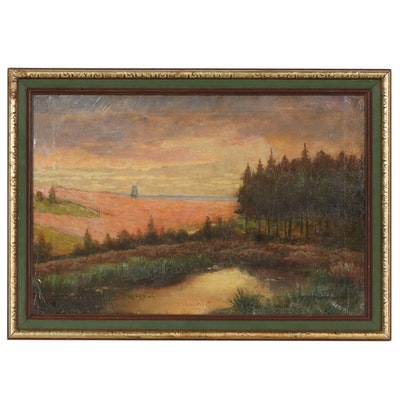 Late 19th Century Oil Painting of Rural Sunset with Windmill