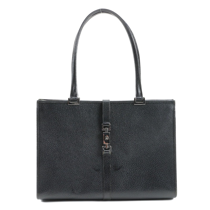 Gucci Tote in Black Textured Leather with Push Lock Closure