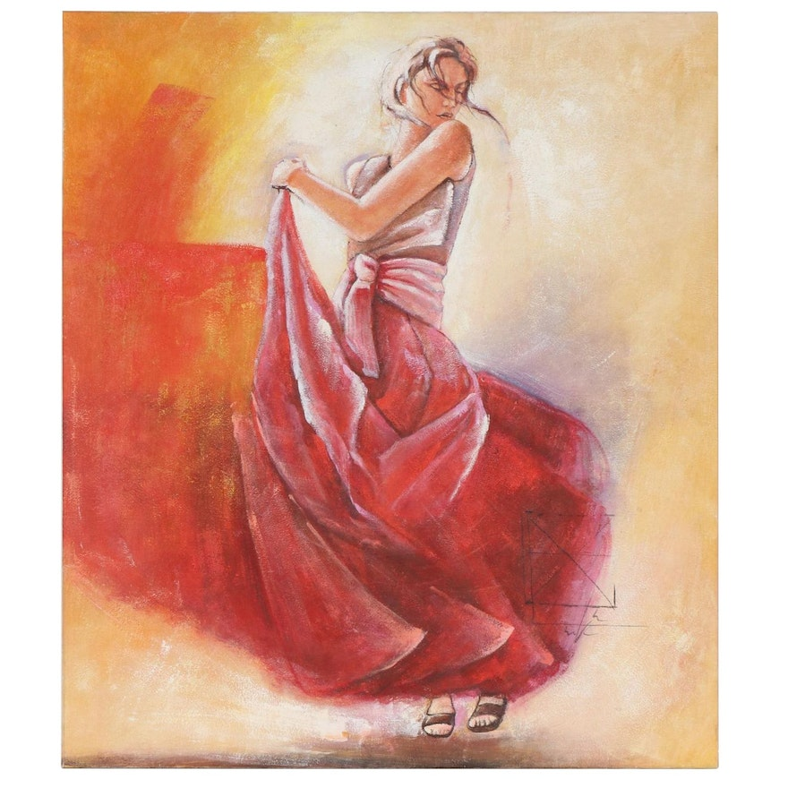 Ye Shui Yung Portrait of Woman in Red Dress Oil Painting