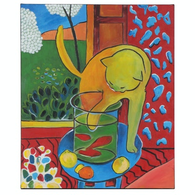 "Farshad Lanjani Copy Acrylic Painting after Henri Matisse ""Cat at the Fish Bowl"""