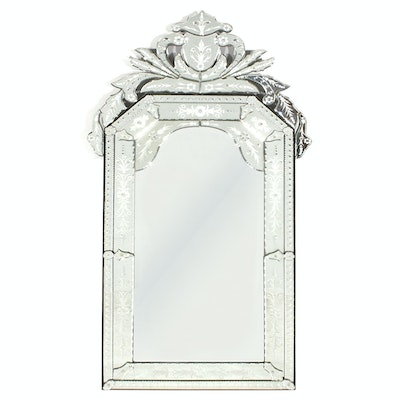 Venetian Style Cut and Etched Glass Wall Mirror