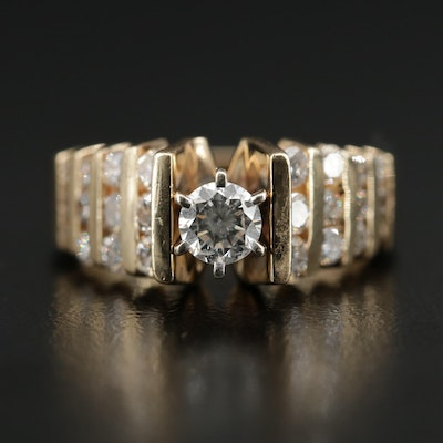 14K 1.41 CTW Diamond Ring with Stepped Channel Shoulders