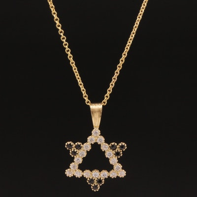 18K Cubic Zirconia and Sapphire Star of David on 14K Rolo Chain Necklace